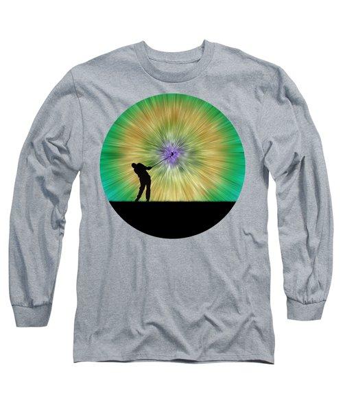 Green Tie Dye Golfer Silhouette Long Sleeve T-Shirt