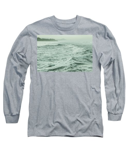 Green Waves Long Sleeve T-Shirt by Iris Greenwell