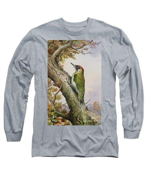 Green Woodpecker Long Sleeve T-Shirt by Carl Donner