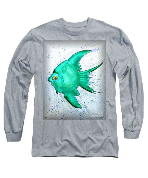 Long Sleeve T-Shirt featuring the mixed media Greenfish by Walt Foegelle
