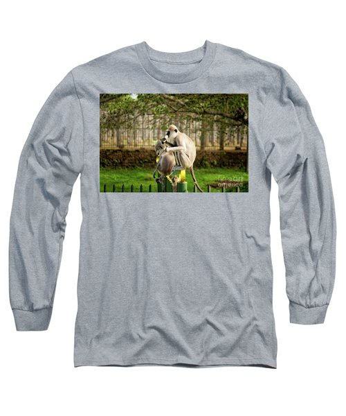 Grey Langur Monkey At Anuradhapura  Long Sleeve T-Shirt