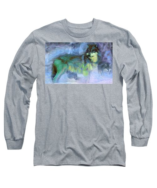 Grey Wolves In Snow Long Sleeve T-Shirt