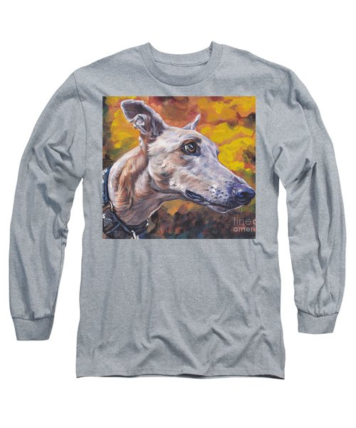 Long Sleeve T-Shirt featuring the painting Greyhound Portrait by Lee Ann Shepard
