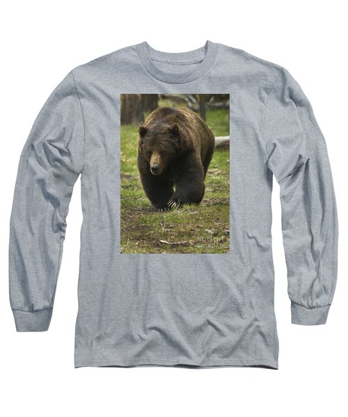 Grizzly Boar-signed-#7914 Long Sleeve T-Shirt by J L Woody Wooden