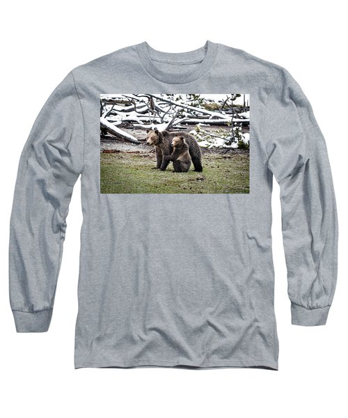 Long Sleeve T-Shirt featuring the photograph Grizzly Cub Holding Mother by Scott Read