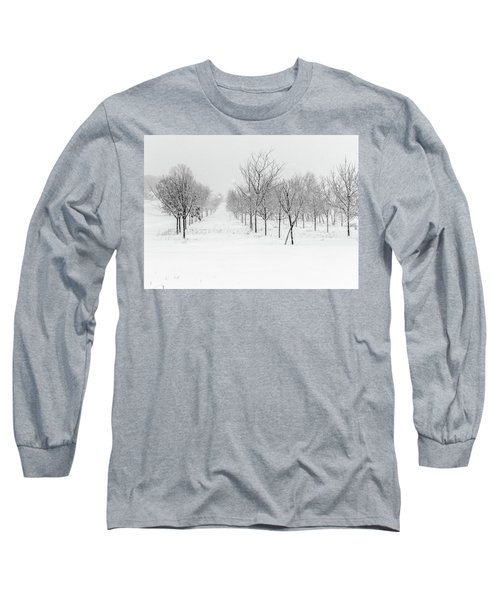 Grove Of Trees In A Snow Storm Long Sleeve T-Shirt