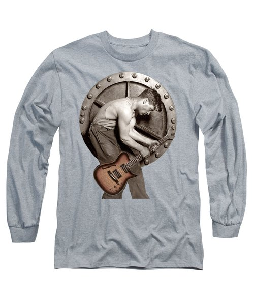 Long Sleeve T-Shirt featuring the photograph Guitar Mechanic T Shirt by Martin Konopacki Restoration