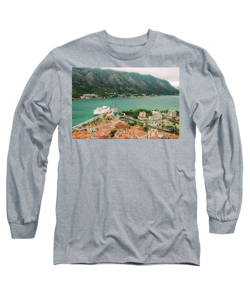 Gulf Of Kotor With Cruise Liner Long Sleeve T-Shirt