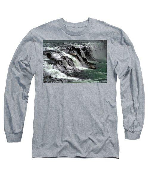 Gullfoss Waterfalls, Iceland Long Sleeve T-Shirt by Dubi Roman