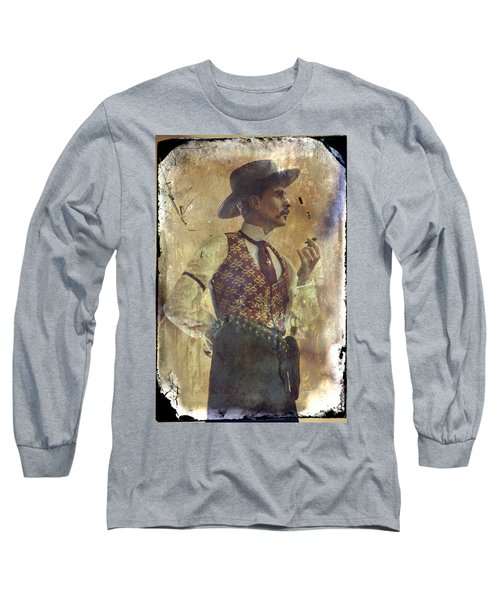 Gunslinger IIi Doc Holliday In Fine Attire Long Sleeve T-Shirt by Toni Hopper
