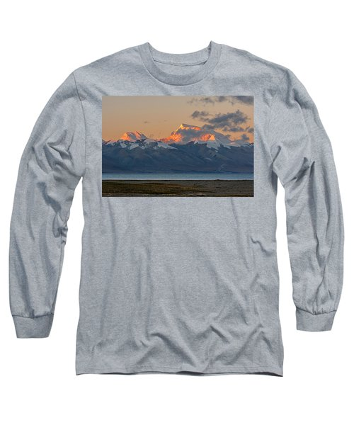 Long Sleeve T-Shirt featuring the photograph Gurla Mandhata At Dawn, Hor, 2007 by Hitendra SINKAR