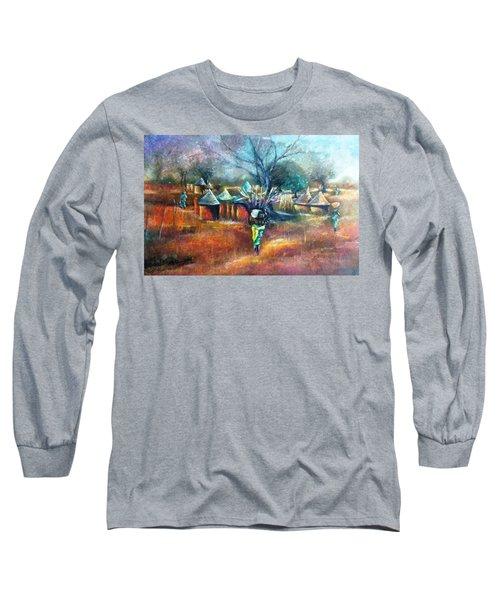 Gwari Village In Abuja Nigeria Long Sleeve T-Shirt by Bankole Abe
