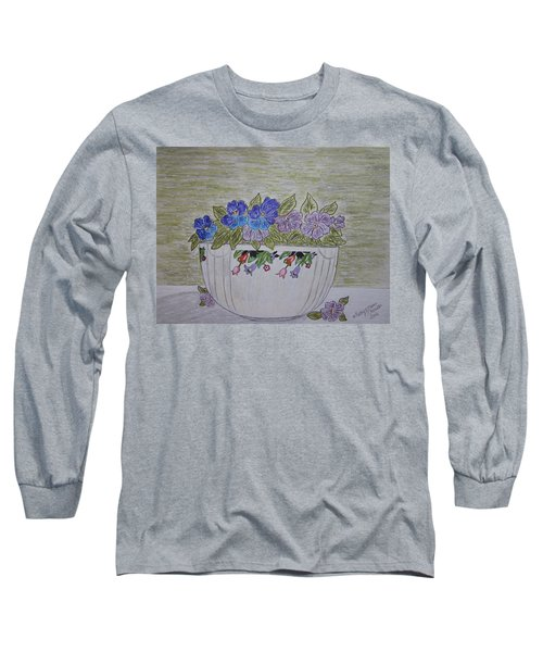Hall China Crocus Bowl With Violets Long Sleeve T-Shirt by Kathy Marrs Chandler