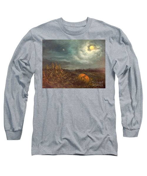 Halloween Mystery Under A Star And The Moon Long Sleeve T-Shirt by Randy Burns