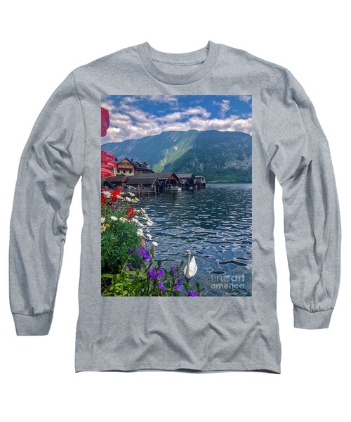 Long Sleeve T-Shirt featuring the photograph Hallstatt Swan by Jacqueline Faust