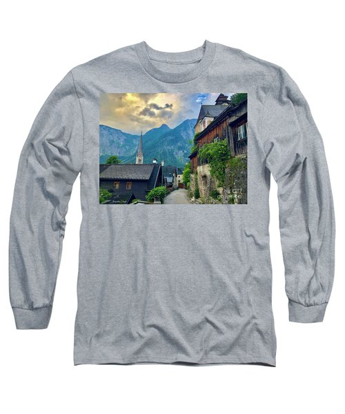 Long Sleeve T-Shirt featuring the photograph Hallstatt Village Stroll by Jacqueline Faust