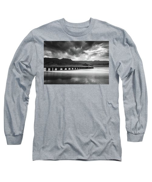 Hanalei Pier In Black And White Long Sleeve T-Shirt
