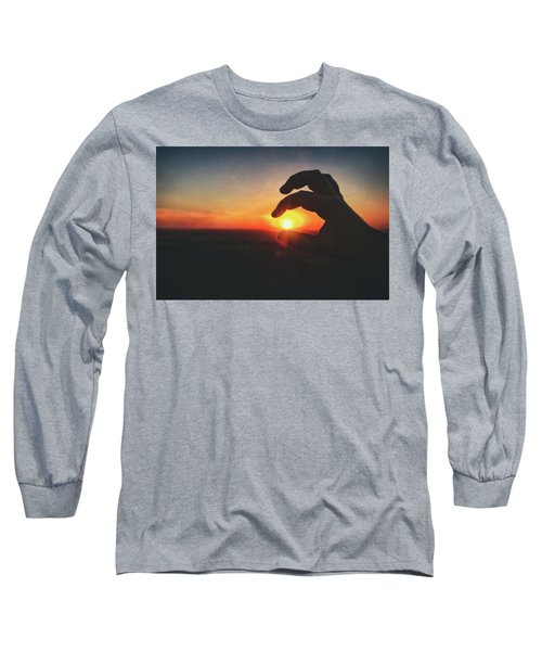 Hand Silhouette Around Sun - Sunset At Lapham Peak - Wisconsin Long Sleeve T-Shirt by Jennifer Rondinelli Reilly - Fine Art Photography