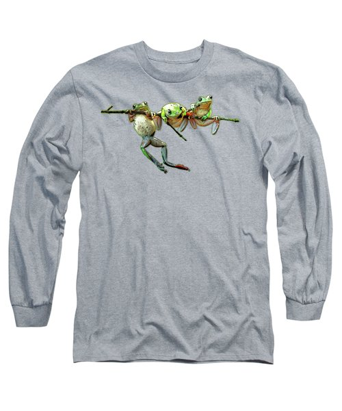 Hang In There Froggies Long Sleeve T-Shirt by Elaine Plesser