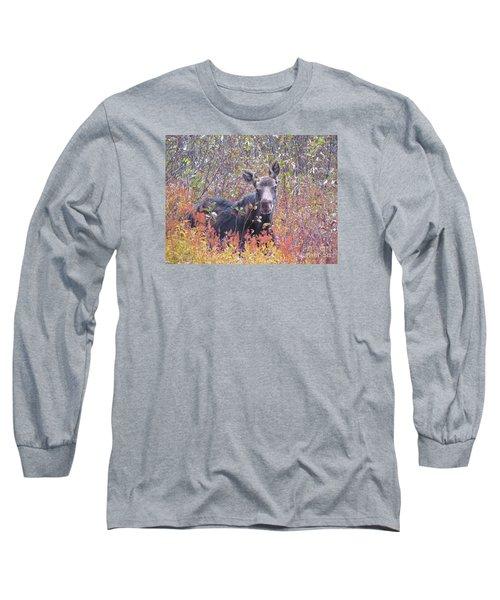 Happy Moose Long Sleeve T-Shirt by Elizabeth Dow