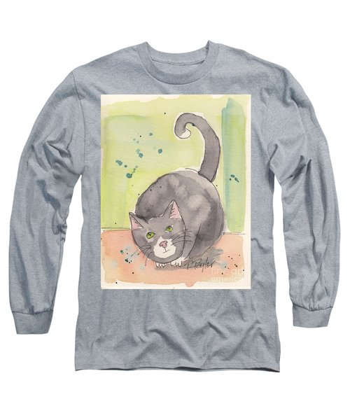 Long Sleeve T-Shirt featuring the painting Happy Tuxedo by Terry Taylor
