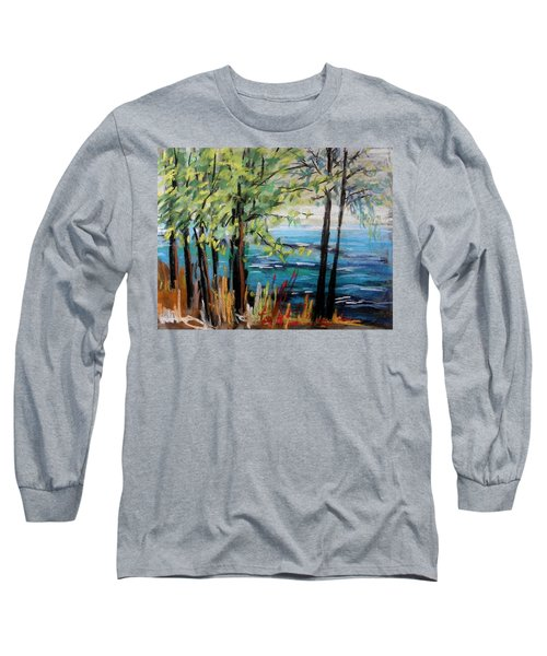 Long Sleeve T-Shirt featuring the painting Harbor Trees by John Williams