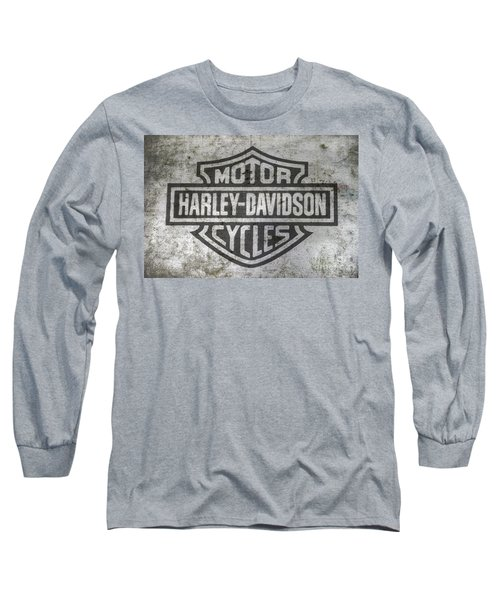 Long Sleeve T-Shirt featuring the digital art Harley Davidson Logo On Metal by Randy Steele