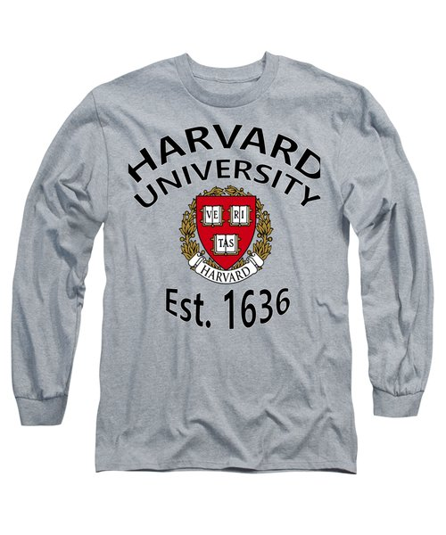 Long Sleeve T-Shirt featuring the digital art Harvard University Est 1636 by Movie Poster Prints
