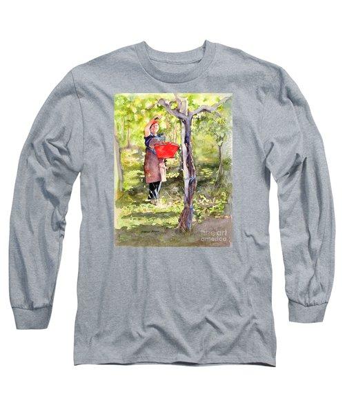 Harvesting Anna's Grapes Long Sleeve T-Shirt by Bonnie Rinier