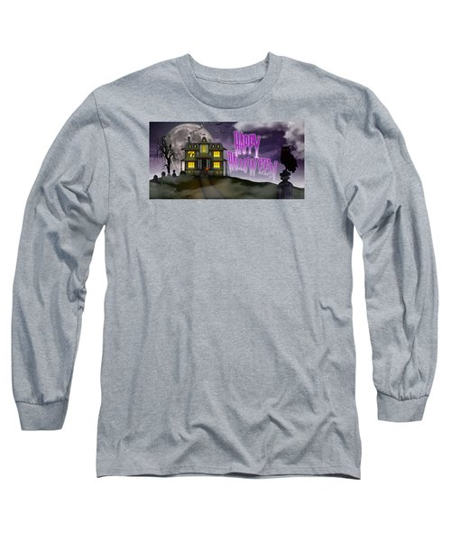 Long Sleeve T-Shirt featuring the digital art Haunted Halloween by Anthony Citro