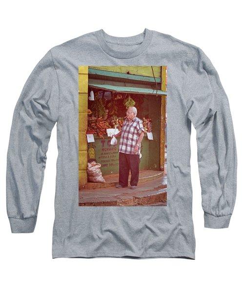 Long Sleeve T-Shirt featuring the photograph Havana Cuba Corner Market by Joan Carroll