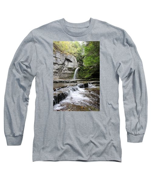 Long Sleeve T-Shirt featuring the photograph Eagle Cliff Falls II by Trina  Ansel