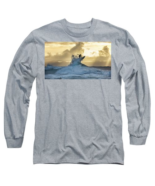 Hawaii Surfing Sunset Polihali Beach Kauai Long Sleeve T-Shirt