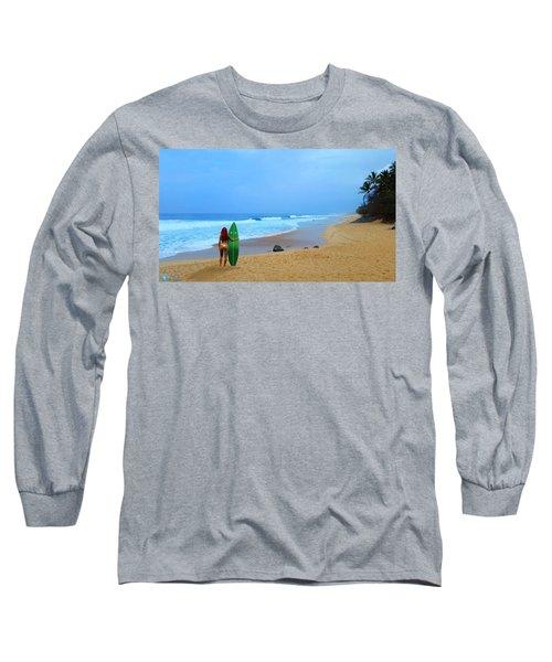 Hawaiian Surfer Girl Long Sleeve T-Shirt by Michael Rucker