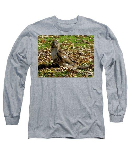 Hawk Falling Leaves Long Sleeve T-Shirt