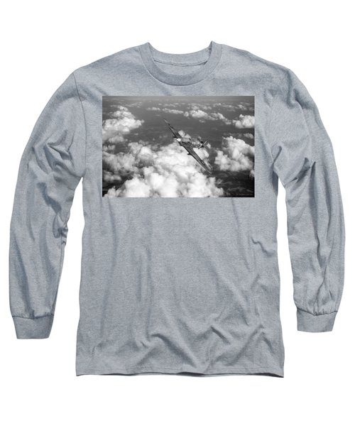 Long Sleeve T-Shirt featuring the photograph Hawker Hurricane IIb Of 174 Squadron Bw Version by Gary Eason