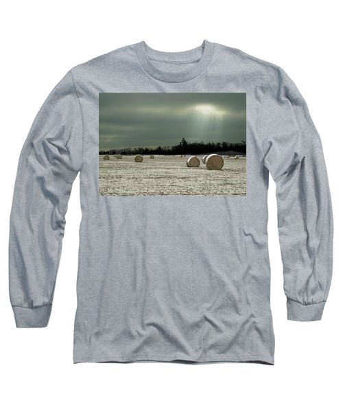 Hay Bales In The Snow Long Sleeve T-Shirt
