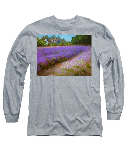 Impressionistic Lavender Field Landscape Plein Air Painting Long Sleeve T-Shirt by Karen Whitworth