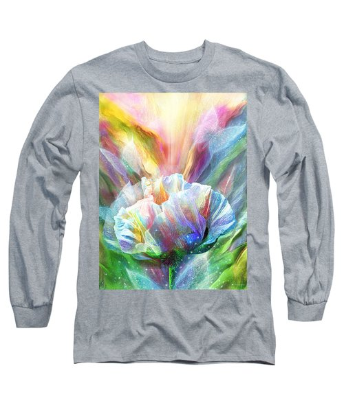 Long Sleeve T-Shirt featuring the mixed media Healing Poppy With Butterflies by Carol Cavalaris