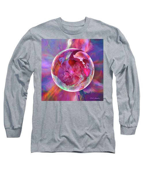 Long Sleeve T-Shirt featuring the digital art Hearts Of Space by Robin Moline