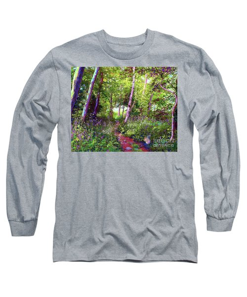 Long Sleeve T-Shirt featuring the painting Heavenly Walk Among Birch And Aspen by Jane Small
