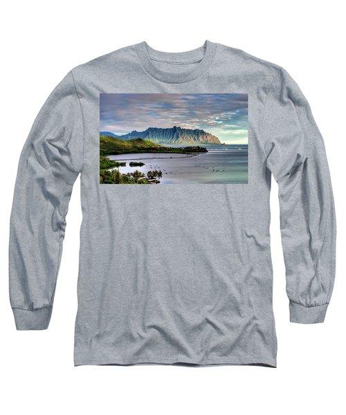 He'eia Fish Pond And Kualoa Long Sleeve T-Shirt by Dan McManus