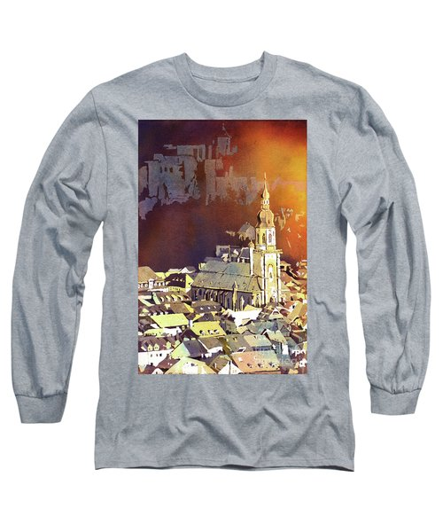 Long Sleeve T-Shirt featuring the painting Heidelberg Sunset- Germany by Ryan Fox