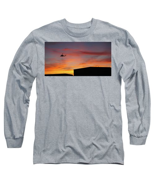 Helicopter And The Sunset Long Sleeve T-Shirt by Angi Parks