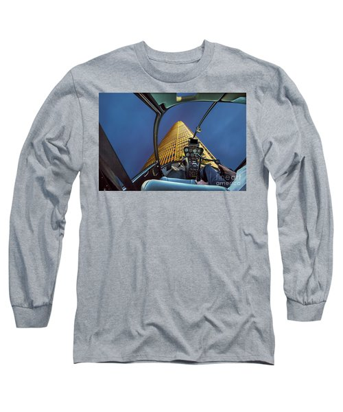 Helicopter On Skyscaper Facade Long Sleeve T-Shirt