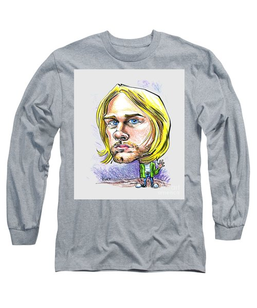 Long Sleeve T-Shirt featuring the drawing Hello Kurt by John Ashton Golden