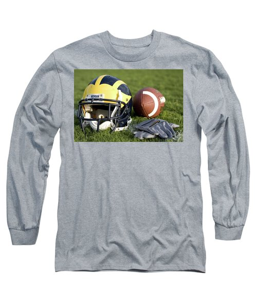 Helmet On The Field With Football And Gloves Long Sleeve T-Shirt