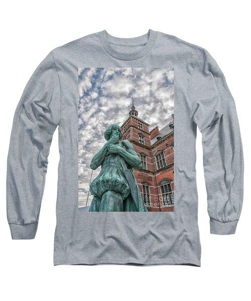 Long Sleeve T-Shirt featuring the photograph Helsingor Train Station Statue by Antony McAulay