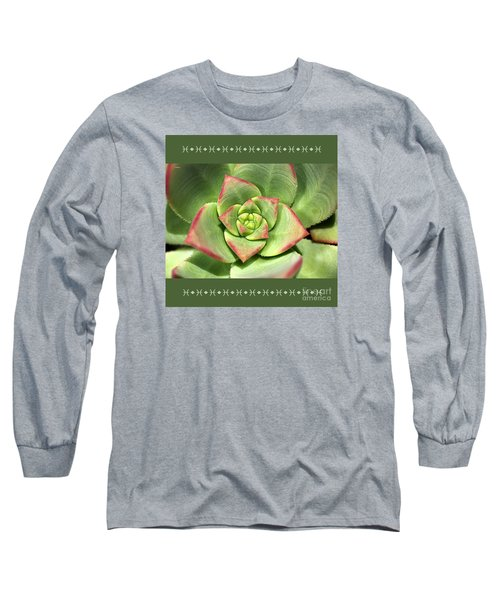 Hens And Chicks Succulent And Design Long Sleeve T-Shirt by Joy Watson