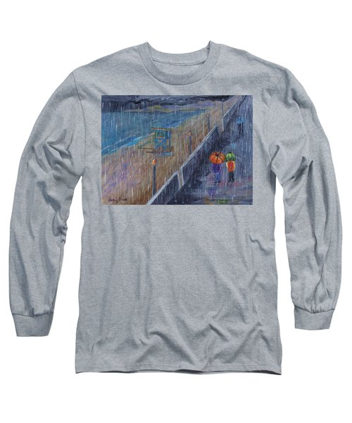 Long Sleeve T-Shirt featuring the painting Hermosa Beach Rain by Jamie Frier